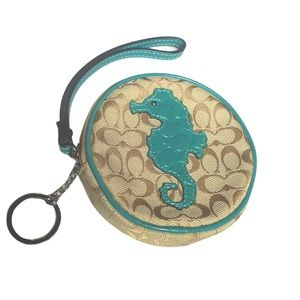 COACH Rare Nautical Signature Seahorse Wristlet